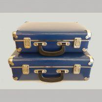 Sæt: lille og stor blå kuffert