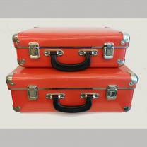 Sæt: Lille + stor rød kuffert